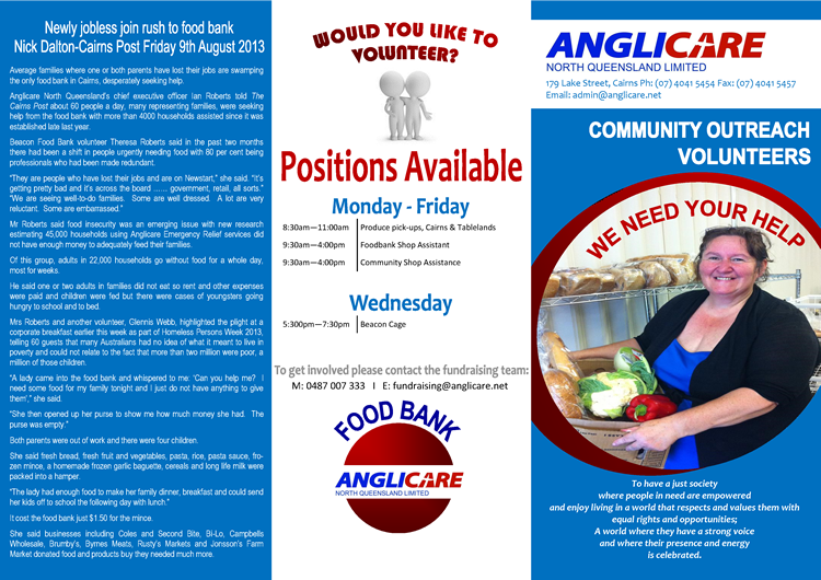 Volunteer with Anglicare North Queensland Limited